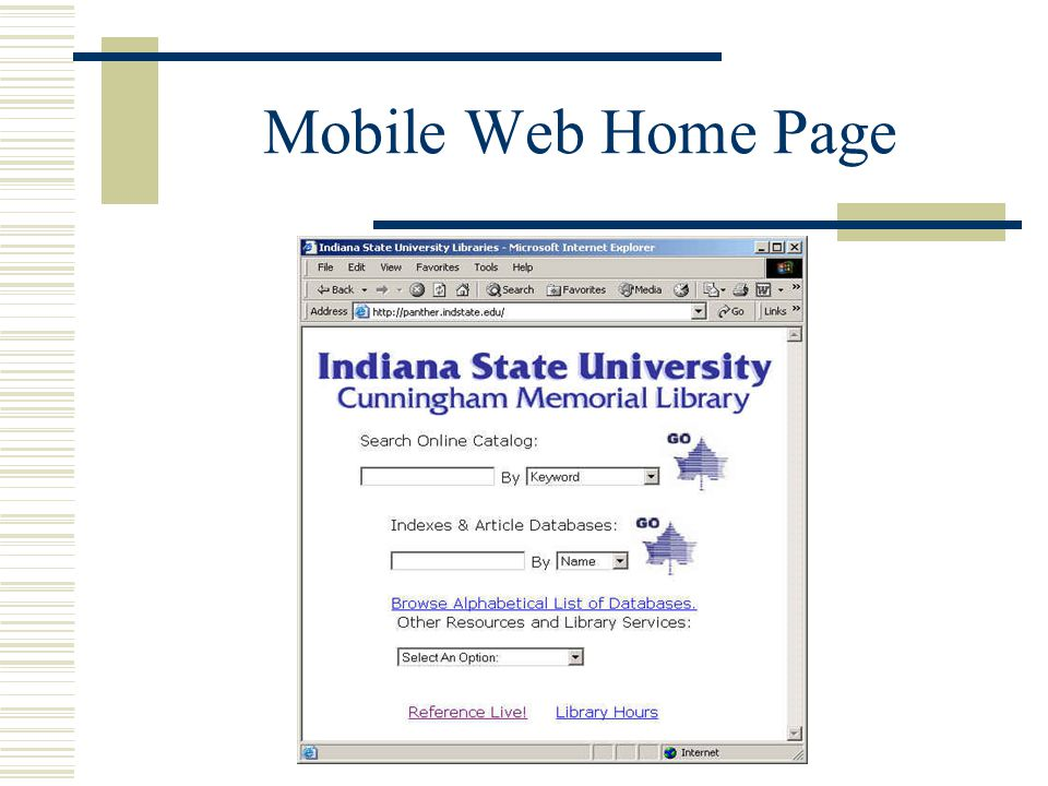 Mobile Web Home Page