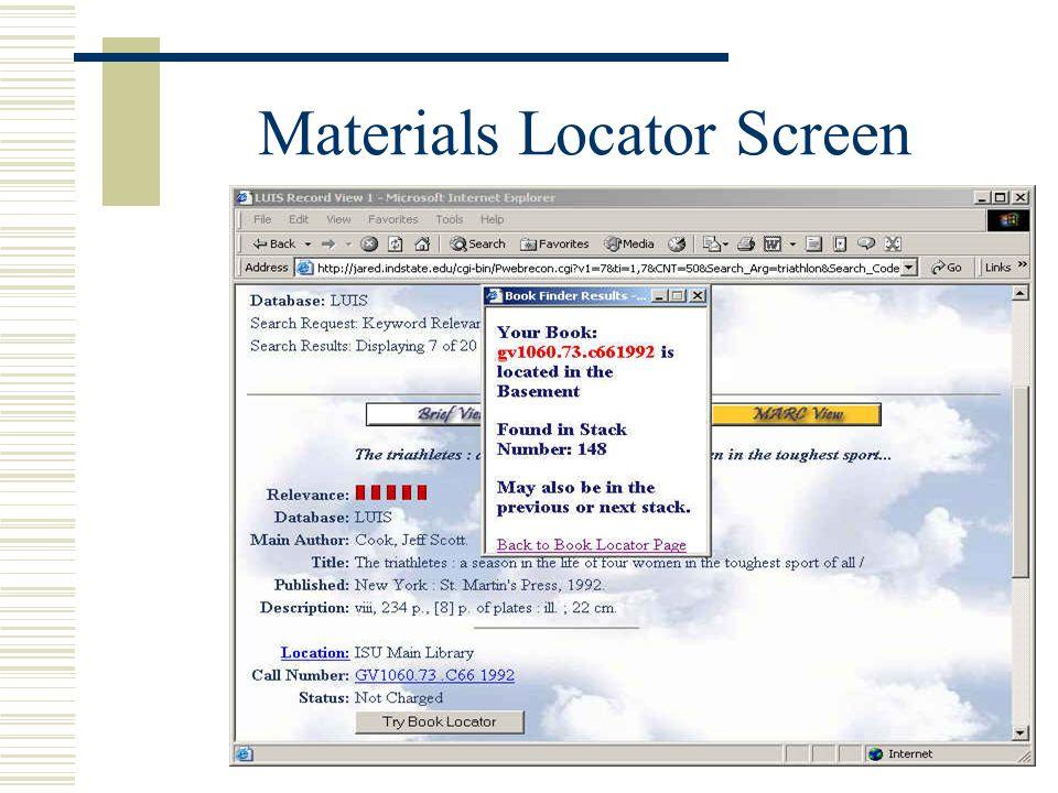 Materials Locator Screen