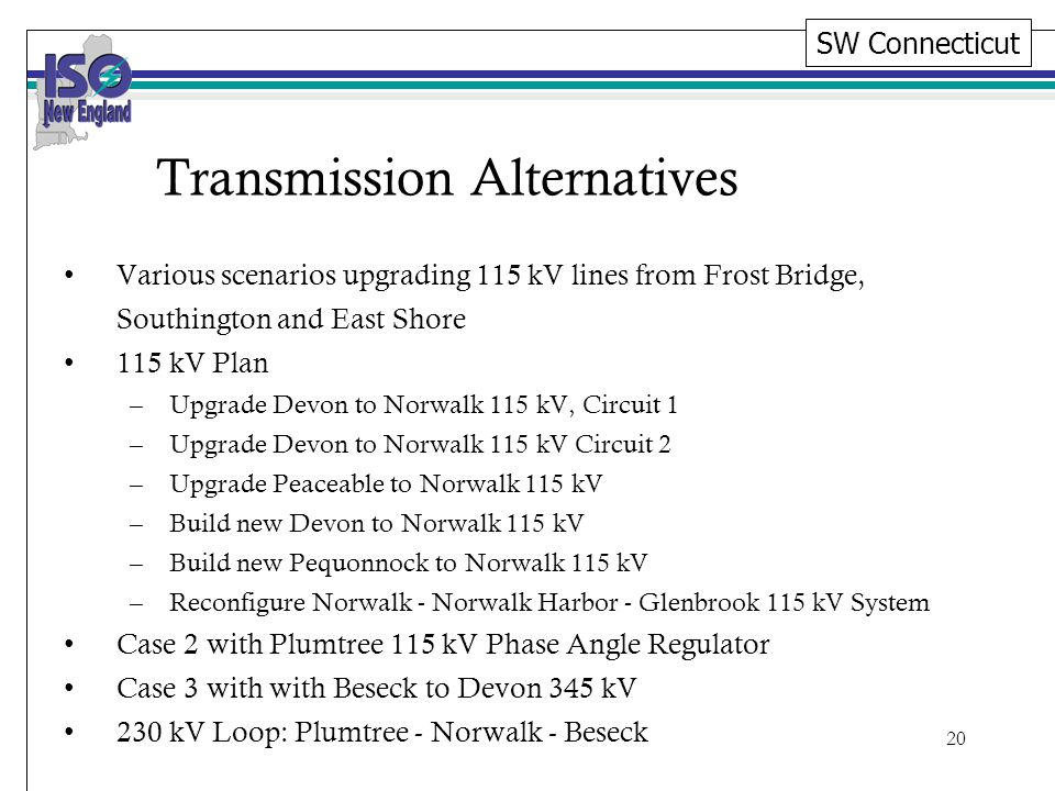 20 Transmission Alternatives Various scenarios upgrading 115 kV lines from Frost Bridge, Southington and East Shore 115 kV Plan –Upgrade Devon to Norwalk 115 kV, Circuit 1 –Upgrade Devon to Norwalk 115 kV Circuit 2 –Upgrade Peaceable to Norwalk 115 kV –Build new Devon to Norwalk 115 kV –Build new Pequonnock to Norwalk 115 kV –Reconfigure Norwalk - Norwalk Harbor - Glenbrook 115 kV System Case 2 with Plumtree 115 kV Phase Angle Regulator Case 3 with with Beseck to Devon 345 kV 230 kV Loop: Plumtree - Norwalk - Beseck SW Connecticut