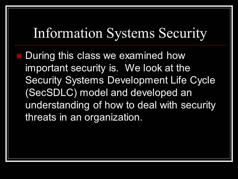 Information Systems Security During this class we examined how important security is.