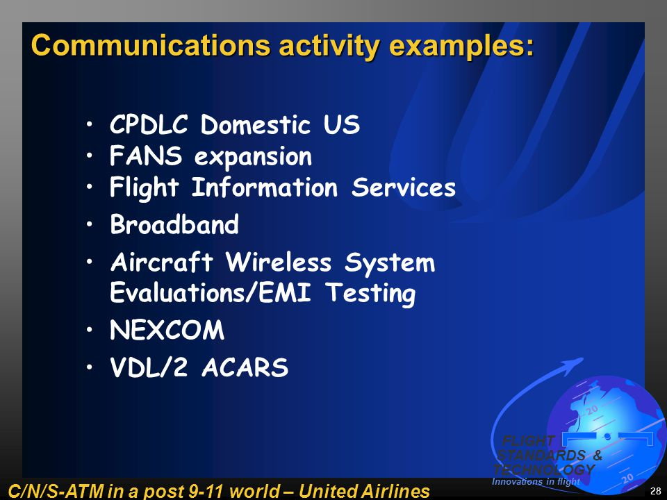 C/N/S-ATM in a post 9-11 world – United Airlines 20 FLIGHT STANDARDS & TECHNOLOGY Innovations in flight 28 Communications activity examples: W o r l d R a d i o c o m m u n i c a t i o n s C o n f e r e n c e CPDLC Domestic US FANS expansion Flight Information Services Broadband Aircraft Wireless System Evaluations/EMI Testing NEXCOM VDL/2 ACARS