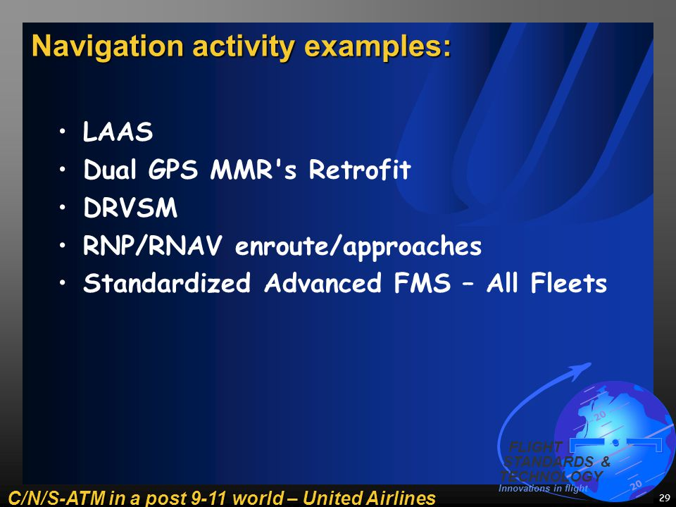 C/N/S-ATM in a post 9-11 world – United Airlines 20 FLIGHT STANDARDS & TECHNOLOGY Innovations in flight 29 Navigation activity examples: LAAS Dual GPS MMR s Retrofit DRVSM RNP/RNAV enroute/approaches Standardized Advanced FMS – All Fleets