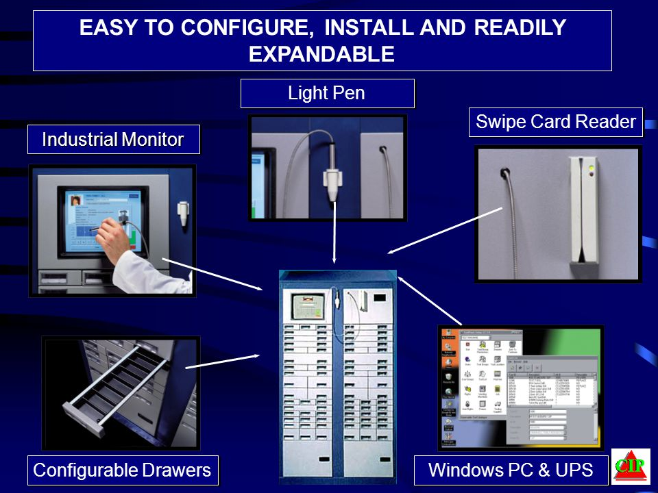Swipe Card Reader Industrial Monitor Windows PC & UPS Light Pen Configurable Drawers EASY TO CONFIGURE, INSTALL AND READILY EXPANDABLE