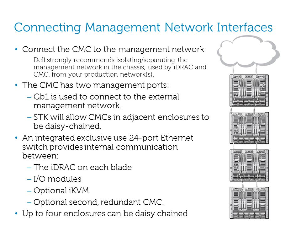 Connecting Management Network Interfaces Connect the CMC to the management network Dell strongly recommends isolating/separating the management networ