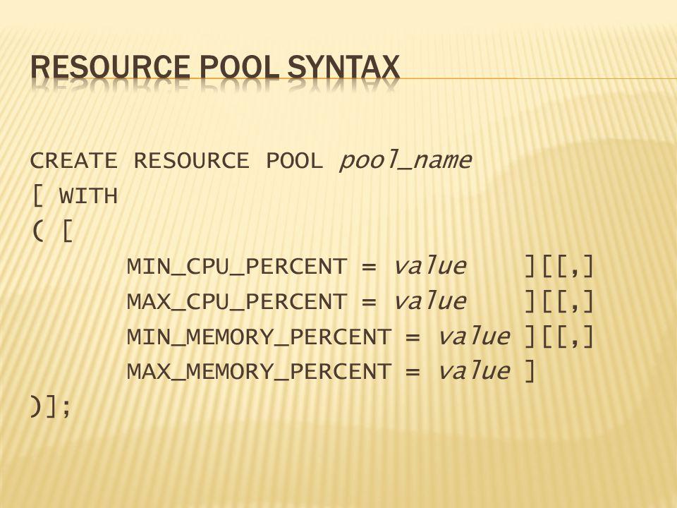 CREATE RESOURCE POOL pool_name [ WITH ( [ MIN_CPU_PERCENT = value ][[,] MAX_CPU_PERCENT = value ][[,] MIN_MEMORY_PERCENT = value ][[,] MAX_MEMORY_PERCENT = value ] )];