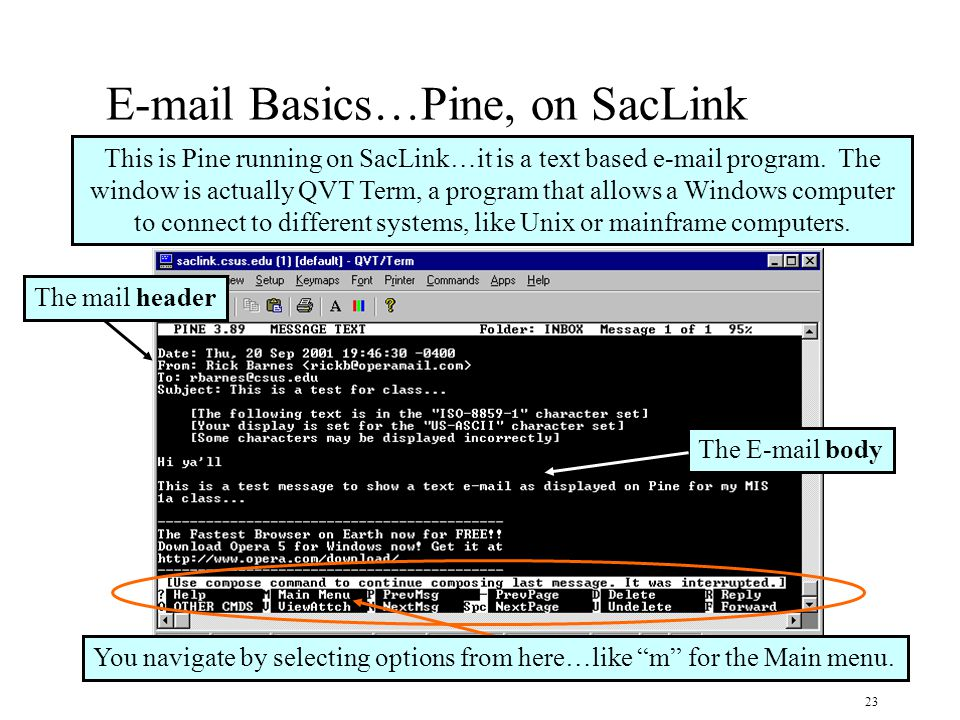 23 E-mail Basics…Pine, on SacLink This is Pine running on SacLink…it is a text based e-mail program.