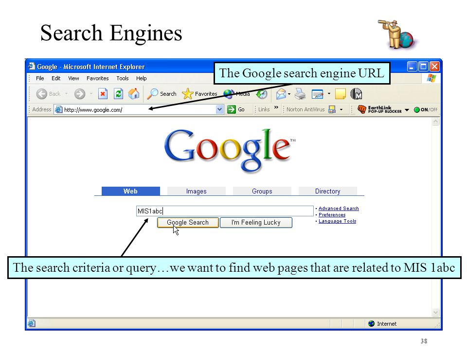 38 Search Engines The search criteria or query…we want to find web pages that are related to MIS 1abc The Google search engine URL