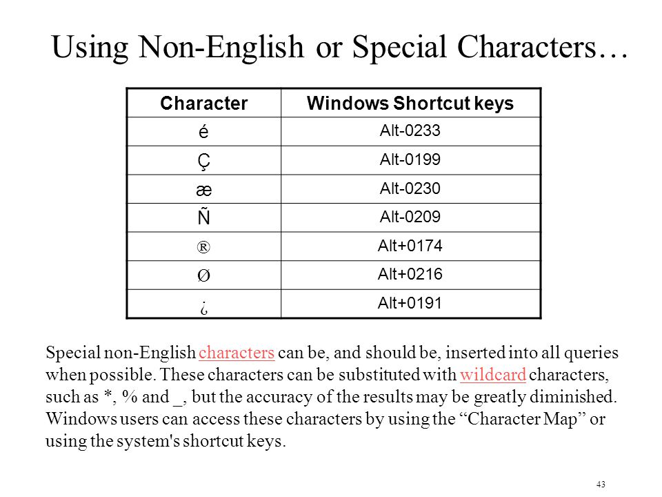 43 CharacterWindows Shortcut keys é Alt-0233 Ç Alt-0199 æ Alt-0230 Ñ Alt-0209 ® Alt+0174 Ø Alt+0216 ¿ Alt+0191 Using Non-English or Special Characters… Special non-English characters can be, and should be, inserted into all queries when possible.