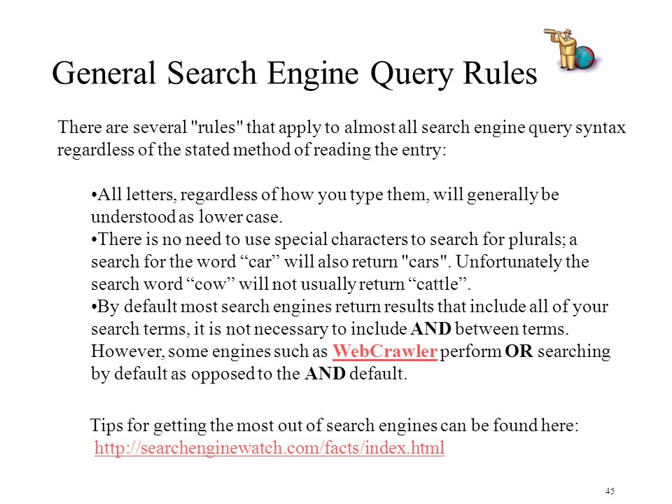 45 There are several rules that apply to almost all search engine query syntax regardless of the stated method of reading the entry: All letters, regardless of how you type them, will generally be understood as lower case.