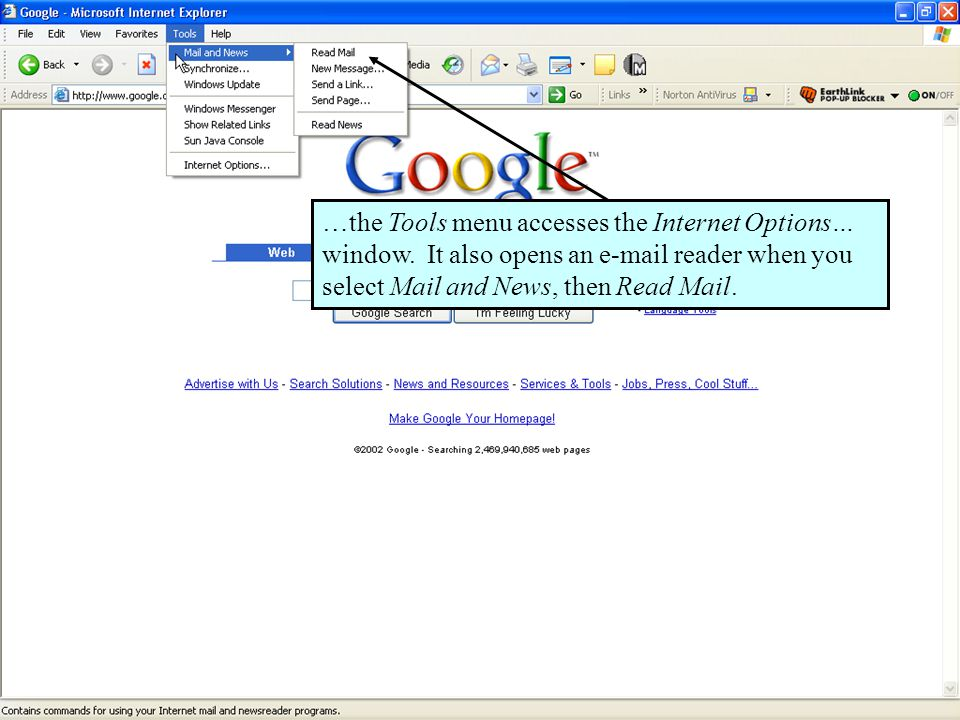 61 …the Tools menu accesses the Internet Options… window.