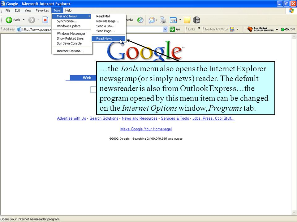 62 …the Tools menu also opens the Internet Explorer newsgroup (or simply news) reader.