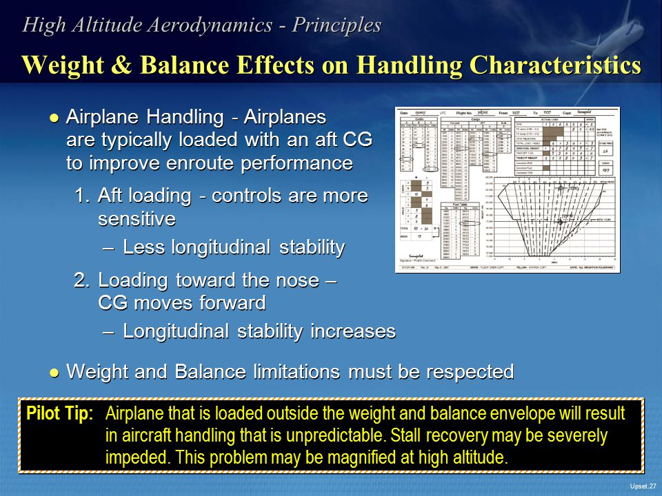 Upset.27 Weight & Balance Effects on Handling Characteristics ● Airplane Handling - Airplanes are typically loaded with an aft CG to improve enroute p