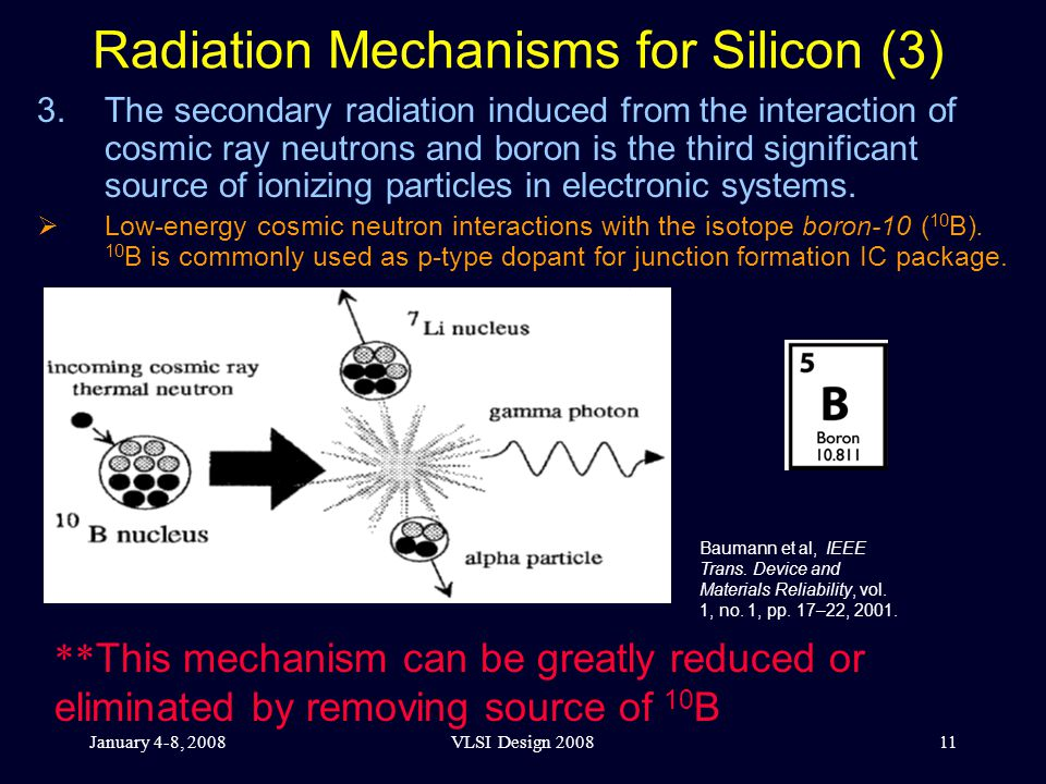 January 4-8, 2008VLSI Design 200811 Radiation Mechanisms for Silicon (3) 3.The secondary radiation induced from the interaction of cosmic ray neutrons and boron is the third significant source of ionizing particles in electronic systems.