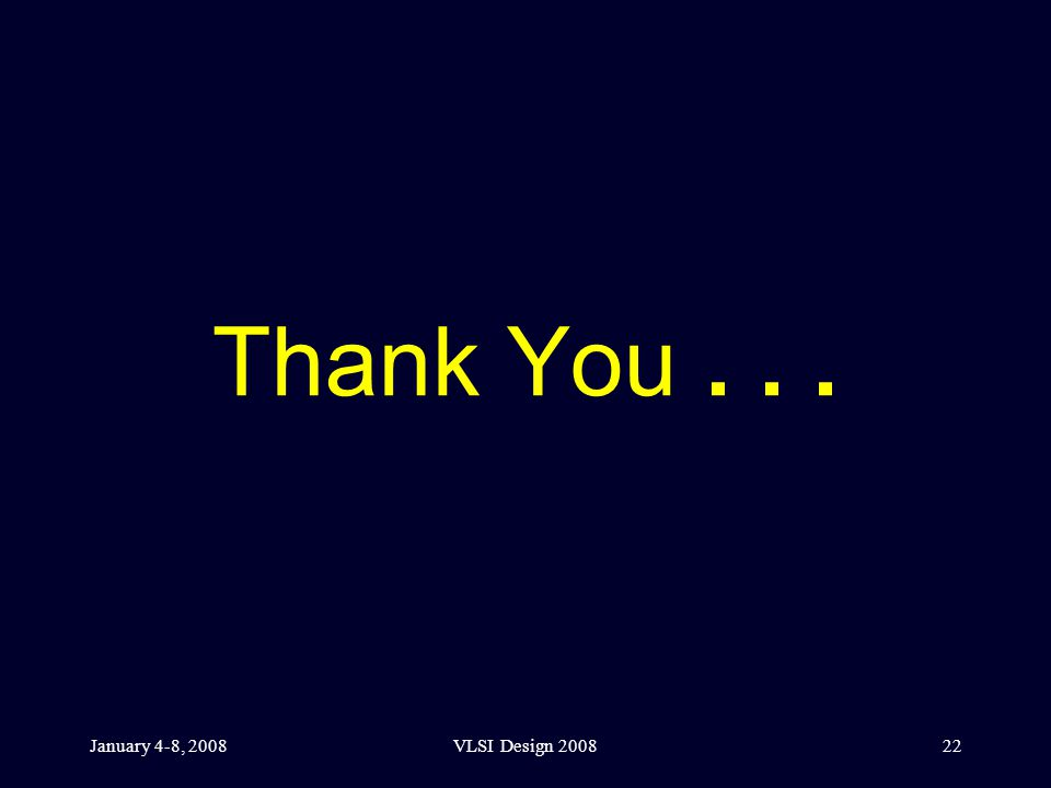 January 4-8, 2008VLSI Design 200822 Thank You...