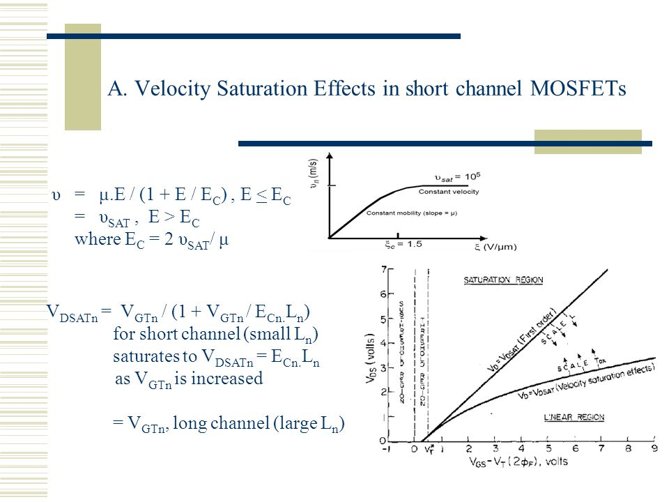 A. Velocity Saturation Effects in short channel MOSFETs υ = μ.E / (1 + E / E C ), E < E C = υ SAT, E > E C where E C = 2 υ SAT / μ V DSATn = V GTn / (