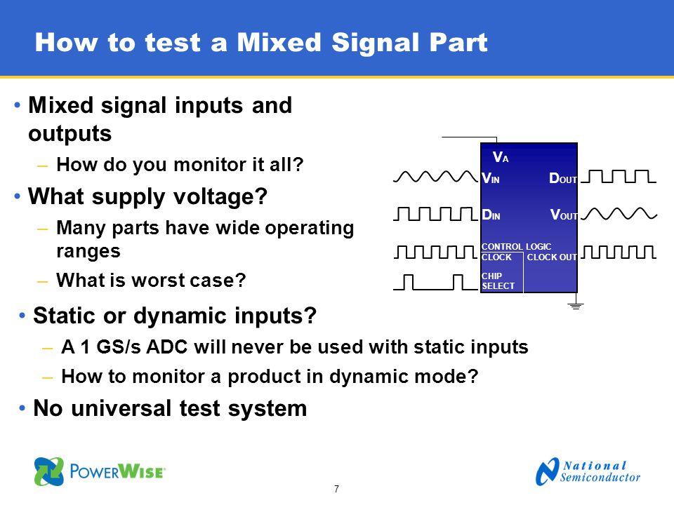 18 Case study: DAC121S101WGRQV 12 b Digital to Analog Converter How should a Digital to Analog Converter be tested.