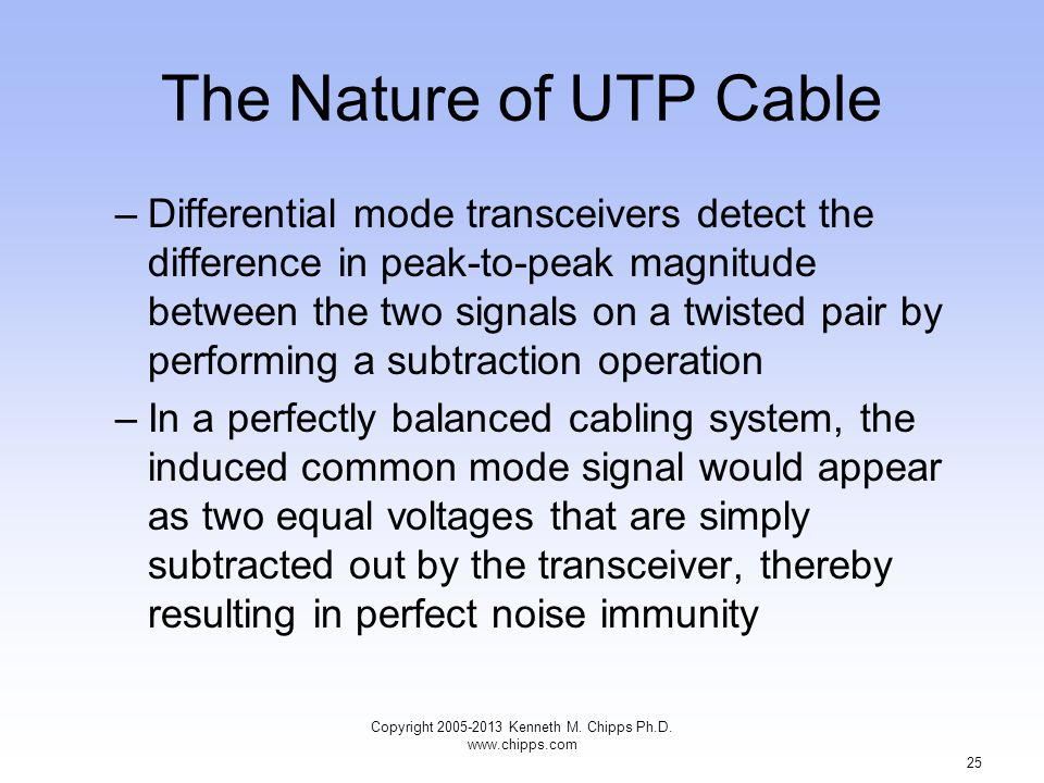 The Nature of UTP Cable –Differential mode transceivers detect the difference in peak-to-peak magnitude between the two signals on a twisted pair by performing a subtraction operation –In a perfectly balanced cabling system, the induced common mode signal would appear as two equal voltages that are simply subtracted out by the transceiver, thereby resulting in perfect noise immunity Copyright 2005-2013 Kenneth M.