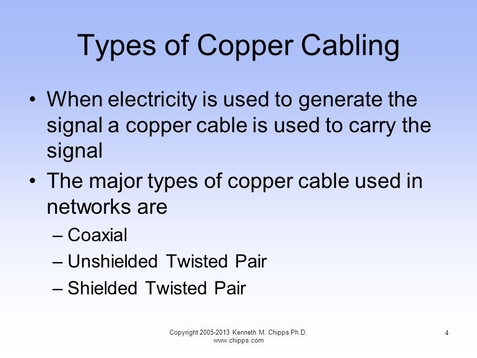 Types of Copper Cabling When electricity is used to generate the signal a copper cable is used to carry the signal The major types of copper cable used in networks are –Coaxial –Unshielded Twisted Pair –Shielded Twisted Pair 4