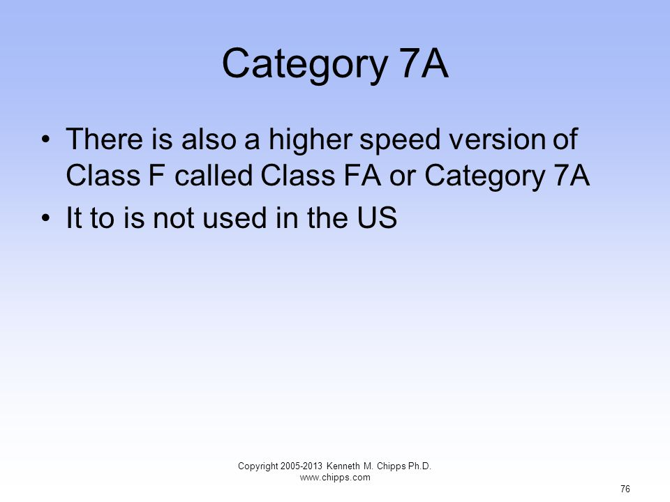 Category 7A There is also a higher speed version of Class F called Class FA or Category 7A It to is not used in the US Copyright 2005-2013 Kenneth M.