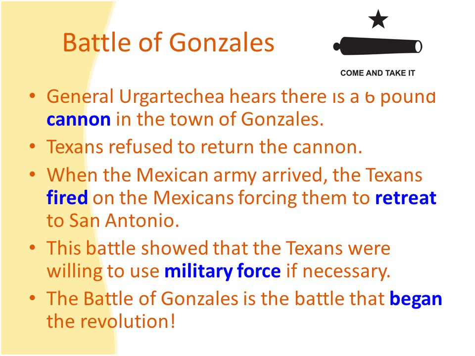 Battle of Gonzales General Urgartechea hears there is a 6 pound cannon in the town of Gonzales.