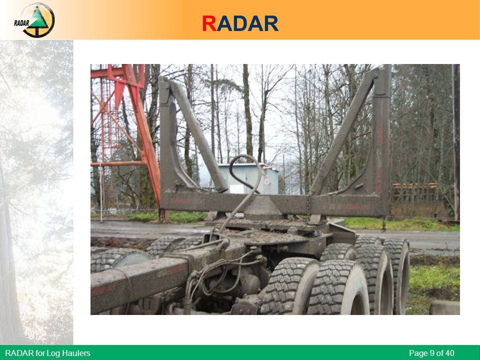 RADAR for Log Haulers Page 9 of 40 Scenario – Broken chain RADAR