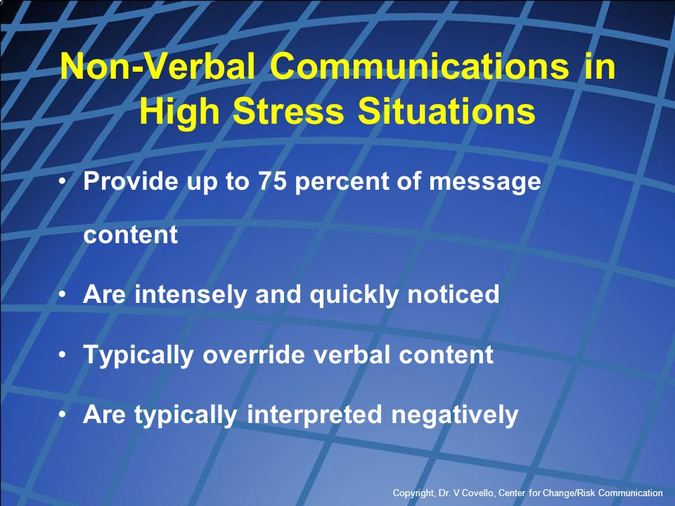 Copyright, Dr. V Covello, Center for Change/Risk Communication Non-Verbal Communications in High Stress Situations Provide up to 75 percent of message