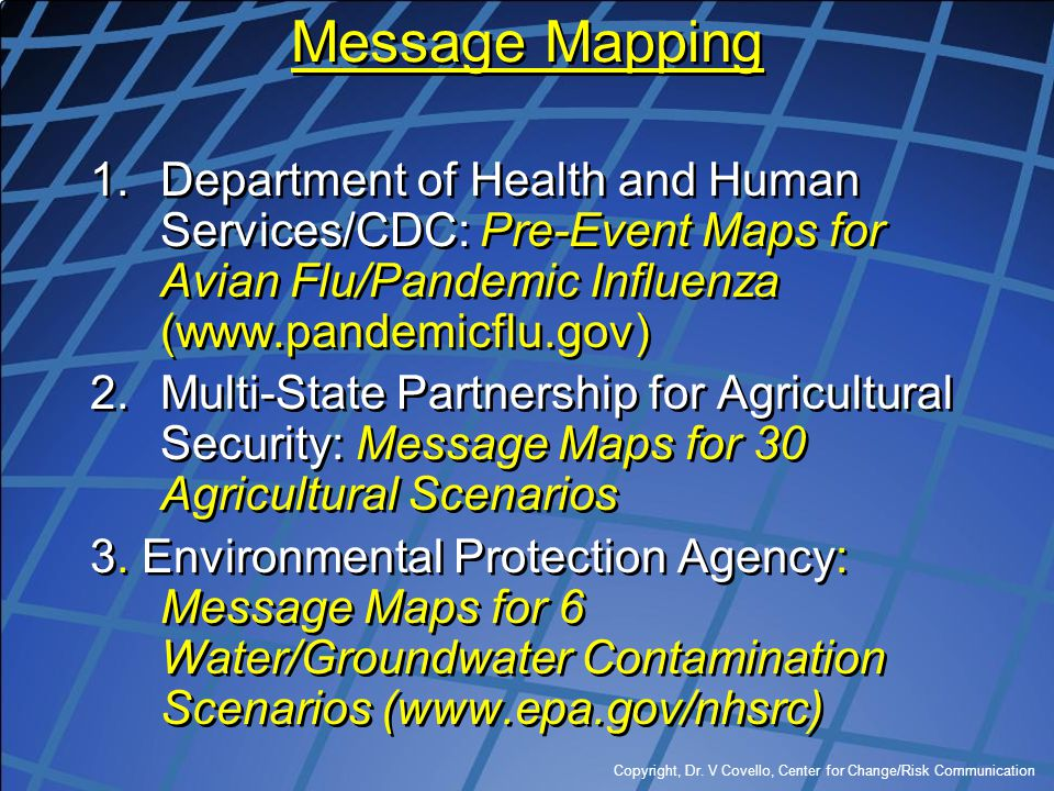 Copyright, Dr. V Covello, Center for Change/Risk Communication Message Mapping 1.Department of Health and Human Services/CDC: Pre-Event Maps for Avian