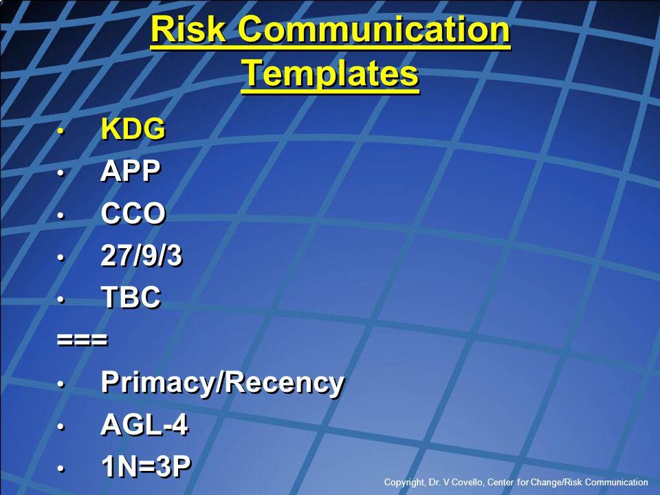 Copyright, Dr. V Covello, Center for Change/Risk Communication Risk Communication Templates KDG APP CCO 27/9/3 TBC === Primacy/Recency AGL-4 1N=3P KDG