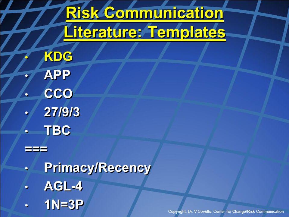 Copyright, Dr. V Covello, Center for Change/Risk Communication Risk Communication Literature: Templates KDG APP CCO 27/9/3 TBC === Primacy/Recency AGL
