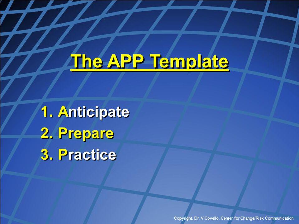 Copyright, Dr. V Covello, Center for Change/Risk Communication The APP Template 1.Anticipate 2.Prepare 3.Practice 1.Anticipate 2.Prepare 3.Practice