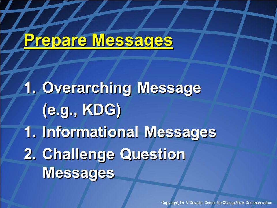 Copyright, Dr. V Covello, Center for Change/Risk Communication Prepare Messages 1.Overarching Message (e.g., KDG) 1.Informational Messages 2.Challenge