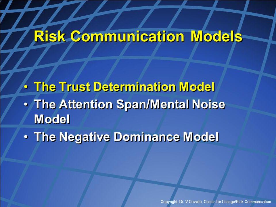 Copyright, Dr. V Covello, Center for Change/Risk Communication Risk Communication Models The Trust Determination Model The Attention Span/Mental Noise
