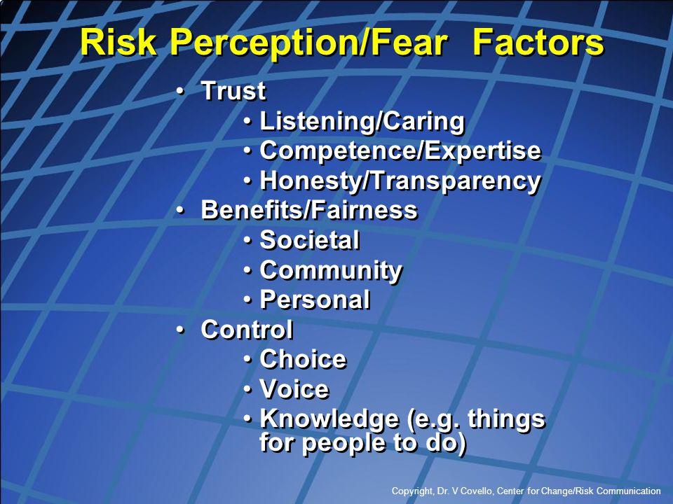 Copyright, Dr. V Covello, Center for Change/Risk Communication Risk Perception/Fear Factors Trust Listening/Caring Competence/Expertise Honesty/Transp