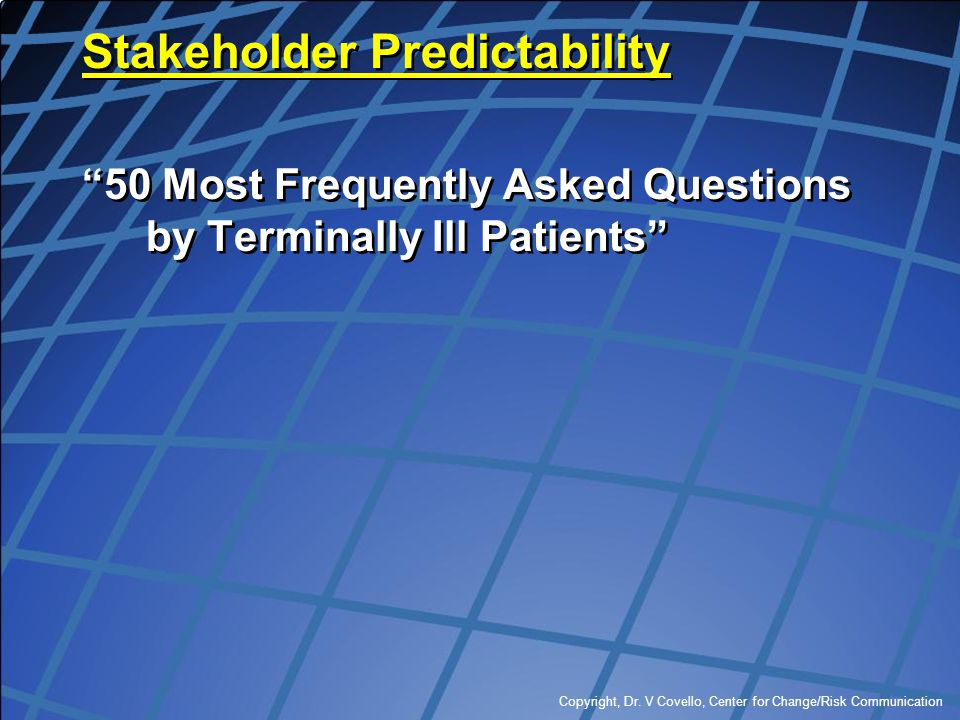 """Copyright, Dr. V Covello, Center for Change/Risk Communication Stakeholder Predictability """"50 Most Frequently Asked Questions by Terminally Ill Patien"""