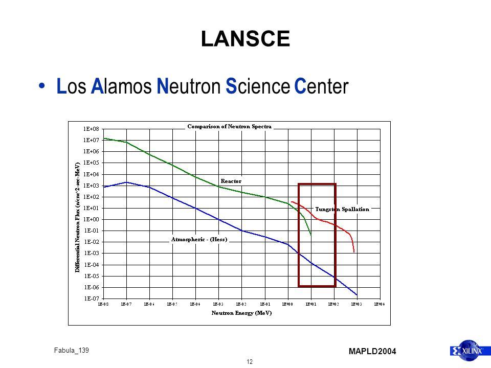 MAPLD2004 12 Fabula_139 LANSCE L os A lamos N eutron S cience C enter