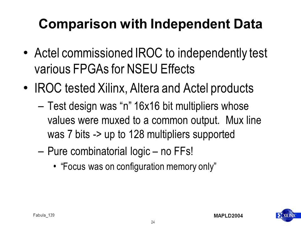 MAPLD2004 24 Fabula_139 Comparison with Independent Data Actel commissioned IROC to independently test various FPGAs for NSEU Effects IROC tested Xili