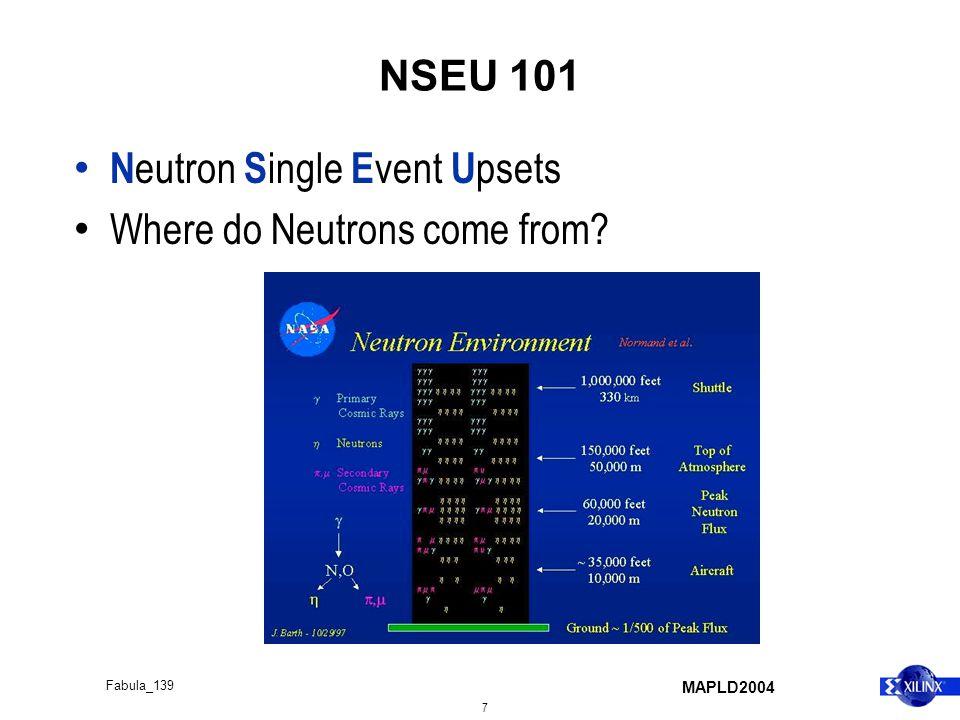 MAPLD2004 7 Fabula_139 NSEU 101 N eutron S ingle E vent U psets Where do Neutrons come from