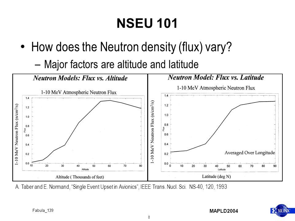 MAPLD2004 8 Fabula_139 NSEU 101 How does the Neutron density (flux) vary.