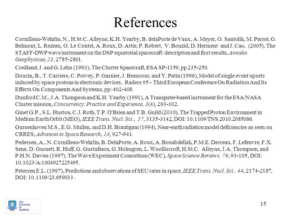 15 References Cornilleau-Wehrlin, N., H.St.C. Alleyne, K.H. Yearby, B. delaPorte de Vaux, A. Meyer, O. Santolik, M. Parrot, G. Belmont, L. Rezeau, O.