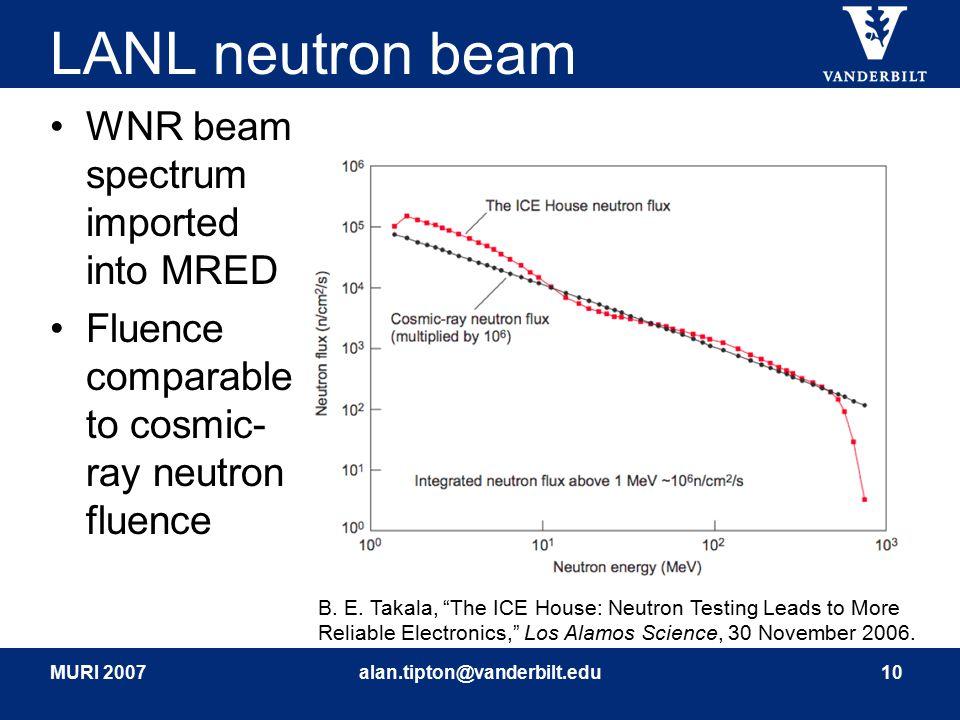 MURI 2007alan.tipton@vanderbilt.edu10 LANL neutron beam WNR beam spectrum imported into MRED Fluence comparable to cosmic- ray neutron fluence B. E. T