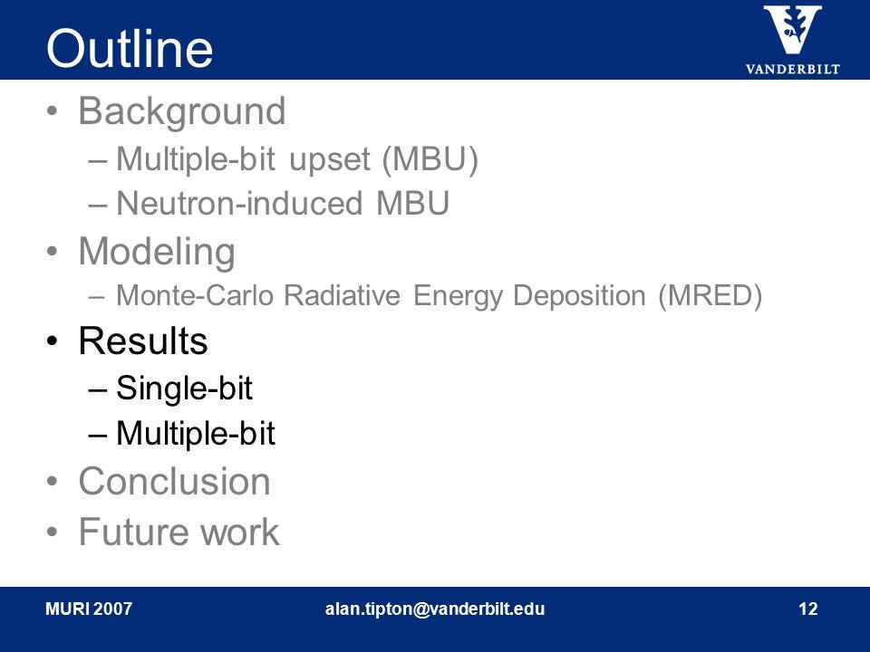 MURI 2007alan.tipton@vanderbilt.edu12 Outline Background –Multiple-bit upset (MBU) –Neutron-induced MBU Modeling –Monte-Carlo Radiative Energy Deposit