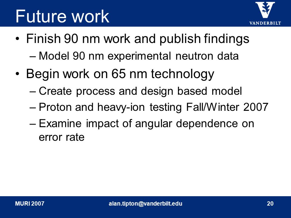 MURI 2007alan.tipton@vanderbilt.edu20 Future work Finish 90 nm work and publish findings –Model 90 nm experimental neutron data Begin work on 65 nm technology –Create process and design based model –Proton and heavy-ion testing Fall/Winter 2007 –Examine impact of angular dependence on error rate