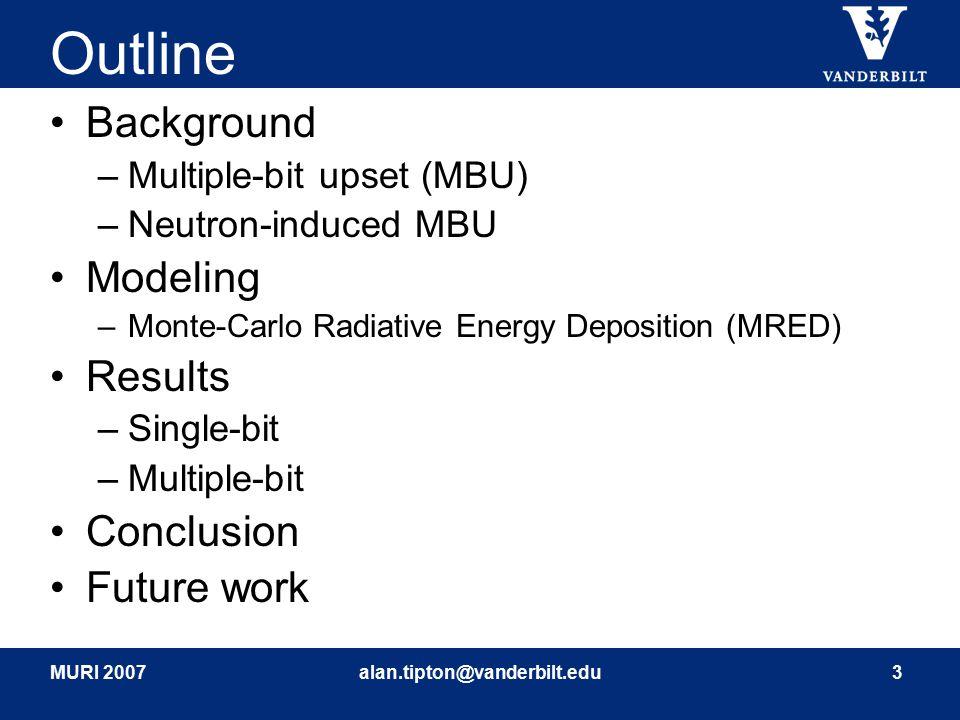 MURI 2007alan.tipton@vanderbilt.edu3 Outline Background –Multiple-bit upset (MBU) –Neutron-induced MBU Modeling –Monte-Carlo Radiative Energy Depositi