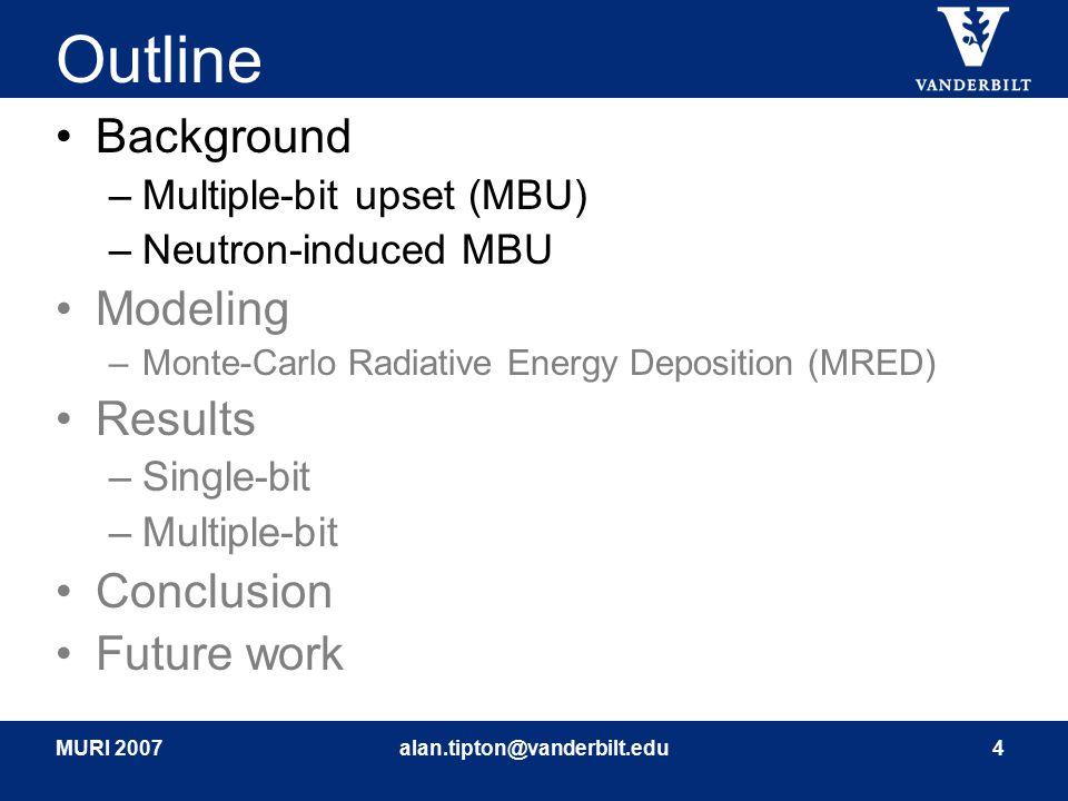 MURI 2007alan.tipton@vanderbilt.edu4 Outline Background –Multiple-bit upset (MBU) –Neutron-induced MBU Modeling –Monte-Carlo Radiative Energy Depositi