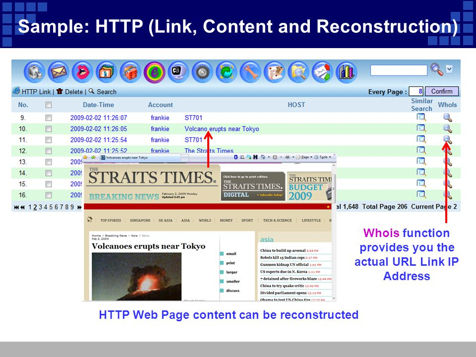 Sample: HTTP (Link, Content and Reconstruction) Whois function provides you the actual URL Link IP Address HTTP Web Page content can be reconstructed