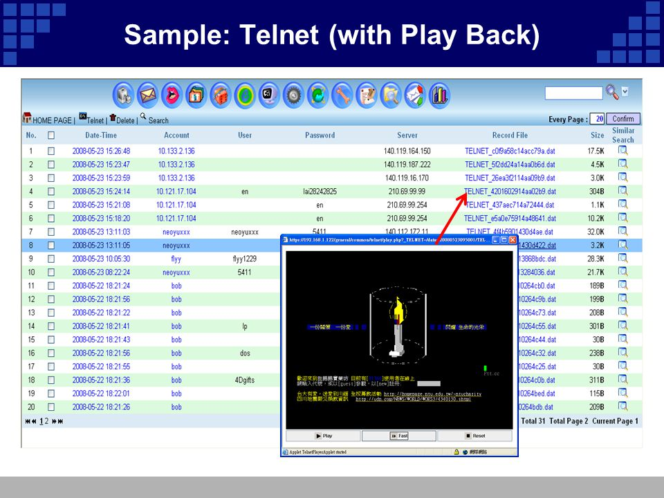 Sample: Telnet (with Play Back)
