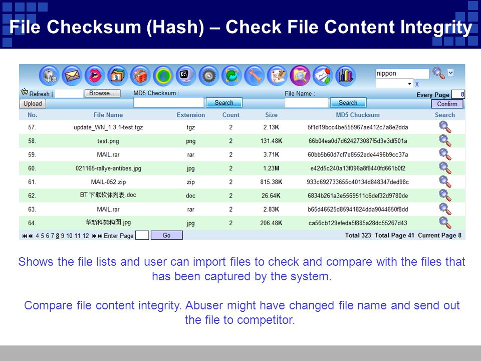File Checksum (Hash) – Check File Content Integrity Shows the file lists and user can import files to check and compare with the files that has been c
