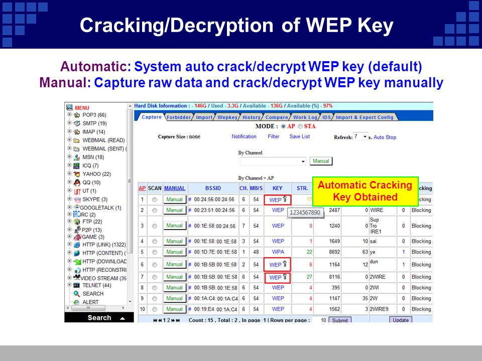 Automatic: System auto crack/decrypt WEP key (default) Manual: Capture raw data and crack/decrypt WEP key manually Automatic Cracking Key Obtained  C