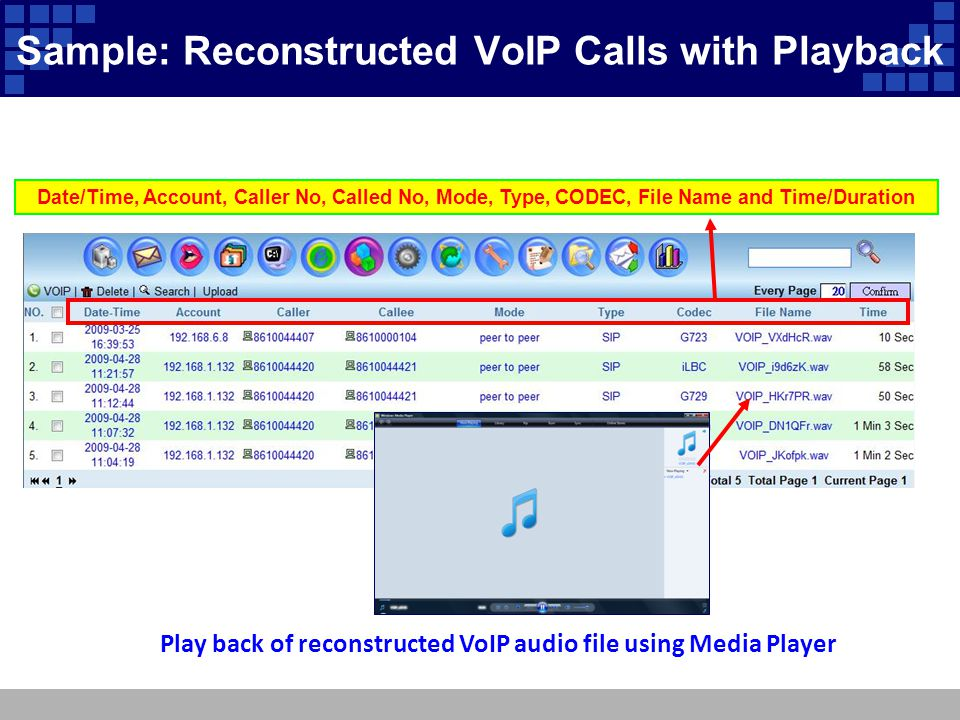 Sample: Reconstructed VoIP Calls with Playback Date/Time, Account, Caller No, Called No, Mode, Type, CODEC, File Name and Time/Duration Play back of r