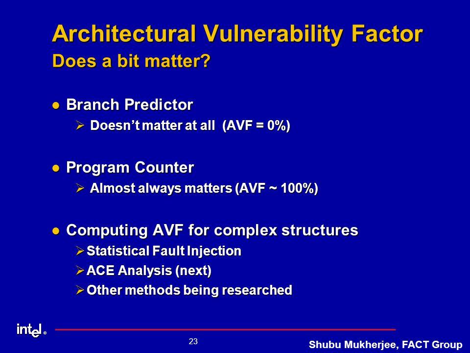 ® 23 Shubu Mukherjee, FACT Group Architectural Vulnerability Factor Does a bit matter.